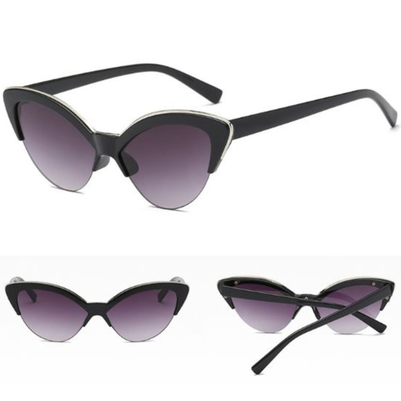 29741fbea828a Half Frame Cat Eye with Gold Accent Sunglasses